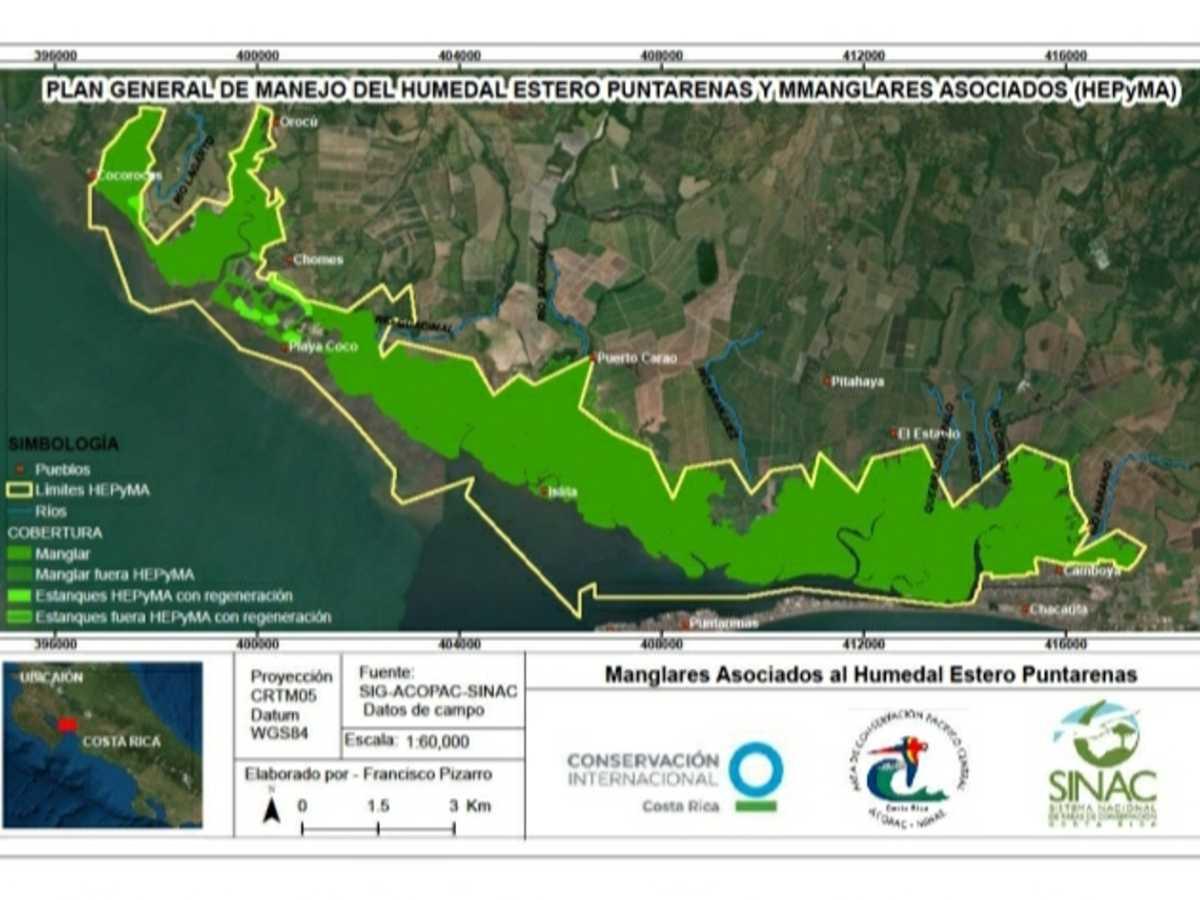 Distribución de los manglares asociados al Humedal Estero Puntarenas y Manglares Asociados
